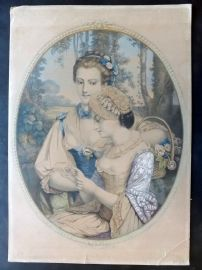 Anon C1850 Folio Hand Col Print. Pretty Ladies with Flowers